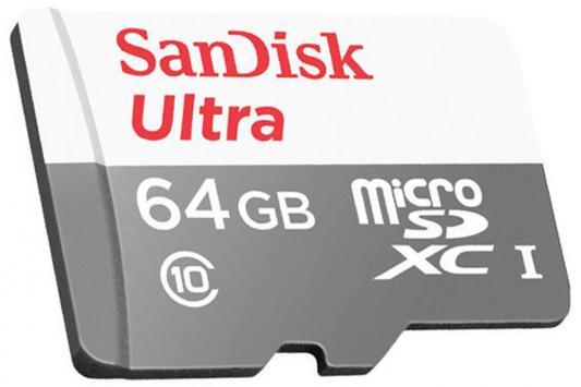 Карта памяти Micro SDXC 64Gb Class 10 Sandisk SDSQUNS-064G-GN3MN карта памяти sdxc 64gb class 10 sandisk sdsdxne 064g gncin