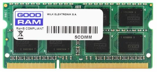 Оперативная память для ноутбука 8Gb (1x8Gb) PC3-12800 1600MHz DDR3 SO-DIMM CL11 Goodram GR1600S364L11/8G оперативная память 8gb pc3 12800 1600mhz ddr3 dimm foxline fl1600d3u11l 8g
