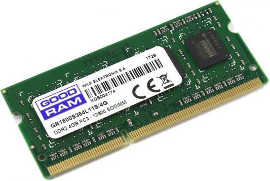 Оперативная память для ноутбуков SO-DDR3 4Gb PC-12800 1600MHz GoodRAM GR1600S364L11S/4G память sodimm ddr3 goodram 8gb for apple w amm13338g