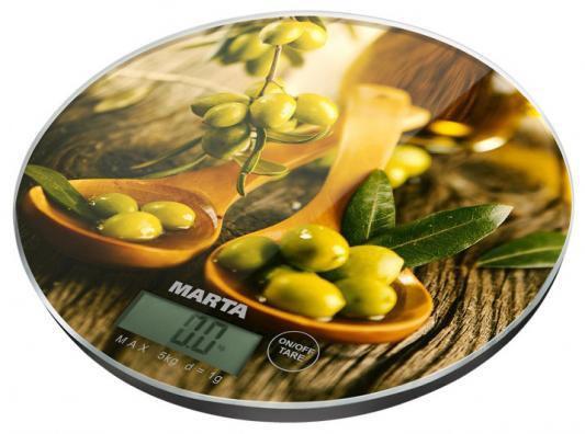Весы кухонные Marta Олива рисунок MT-1635 кухонные весы marta mt 1635 морозные ягоды