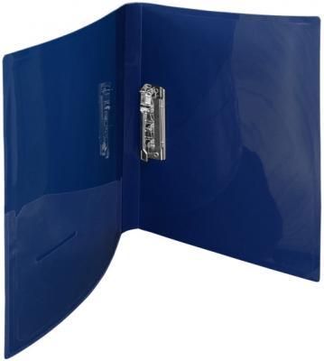 Папка с прижимным механизмом и карманом Index SATIN, форзац, ф.A4, 0,6мм, темно-синяя ICF02/11/BU от 123.ru