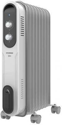 Масляный радиатор Hyundai H-HO-9-09-UI848 2000 Вт термостат ручка для переноски колеса для перемещения белый серый цены