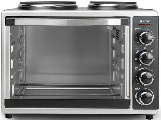 Мини-печь KITFORT КТ-1703 серебристый чёрный