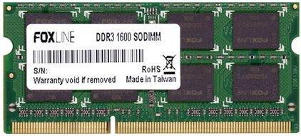 Оперативная память для ноутбуков SO-DDR3 4Gb PC12800 1600MHz Foxline FL1600D3S11SL-4GH