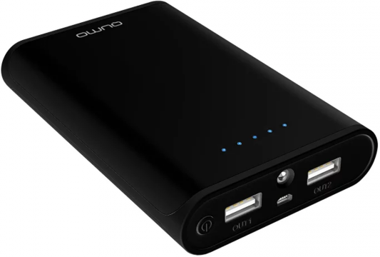 Портативное зарядное устройство Qumo PowerAid 10400mAh черный беспроводное зарядное устройство qumo poweraid qi stand charger