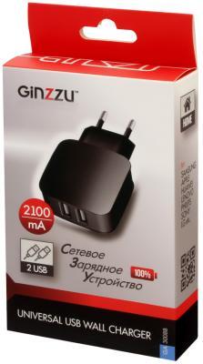 Сетевое зарядное устройство GINZZU GA-3008B 2 х USB 2.1A черный сетевое зарядное устройство ginzzu 3 1a 2 usb с кабелем usb type c нейлоновая оплётка черный