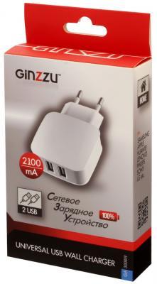 Сетевое зарядное устройство GINZZU GA-3008W 2 х USB 2.1A белый сетевое зарядное устройство ginzzu ga 3311ub 2 х usb 3 1а черный