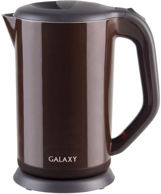 Чайник GALAXY GL0318 2000 Вт коричневый 1.7 л металл/пластик чайник galaxy gl0301 2000 вт 1 5 л пластик белый рисунок