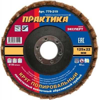 Круг лепестковый Практика полировальный 125х22мм войлочный абразивный грубый 779-219 круг лепестковый практика с оправкой 40х20мм p120 хвостовик