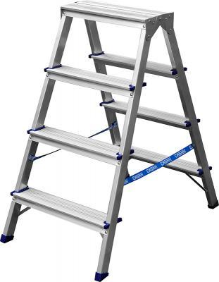 Лестница-стремянка Сибин двухсторонняя алюминиевая 4 ступени 38825-04
