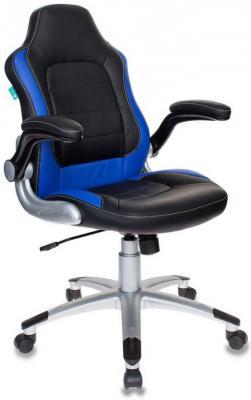 Кресло компьютерное игровое Бюрократ VIKING-1/BL+BLUE черный/синий кресло бюрократ престиж ткань [престиж синий]