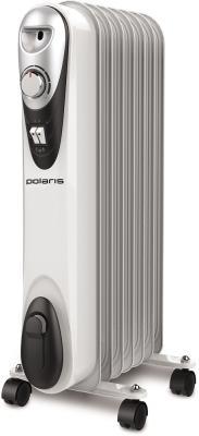 Масляный радиатор Polaris CR C 0715 1500 Вт термостат колеса для перемещения ручка для переноски белый чёрный масляный радиатор vitek vt 1707 w 1000 вт термостат ручка для переноски колеса для перемещения белый