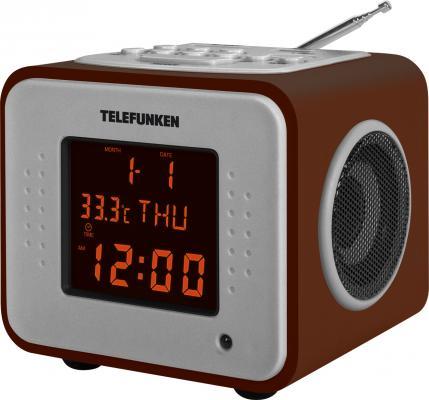Часы с радиоприёмником Telefunken TF-1575U темное дерево янтарный