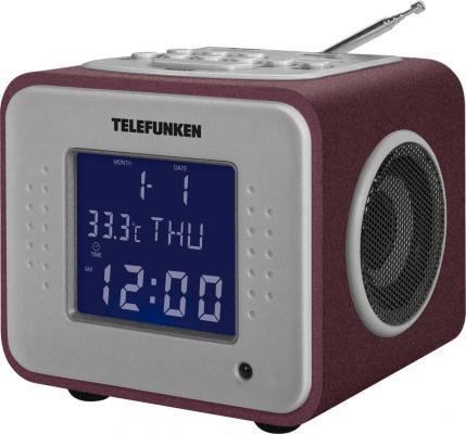 Часы с радиоприёмником Telefunken TF-1575U бордовый фиолетовый