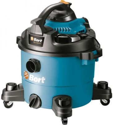 Промышленный пылесос BORT BSS-1330-Pro сухая влажная уборка синий чёрный промышленный пылесос bort bss 1415 w влажная сухая уборка чёрный синий