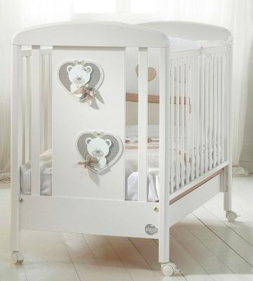 Купить Кроватка-качалка Baby Expert Bon Bon Duetto (белый/серо-бежевый), массив бука / ДСП, Кроватки без укачивания
