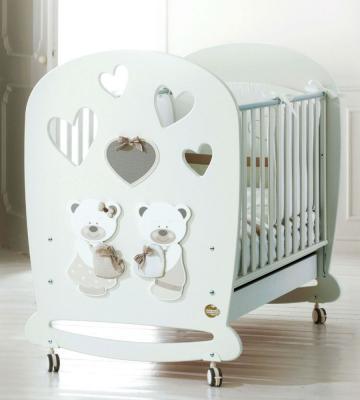 Купить Кроватка-качалка Baby Expert Bon Bon (белый/серо-бежевый), массив бука / ДСП, Кроватки без укачивания