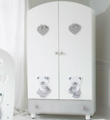Шкаф двустворчатый Baby Expert Bon Bon (белый/cерый) baby expert шкаф двустворчатый baby expert aloha крем