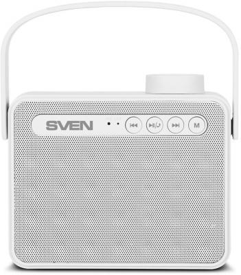 АС SVEN PS-72, белый, акустическая система 2.0, мощность 2x3 Вт (RMS), Bluetooth, FM, USB, microSD, ручка, встроенный аккумулятор)
