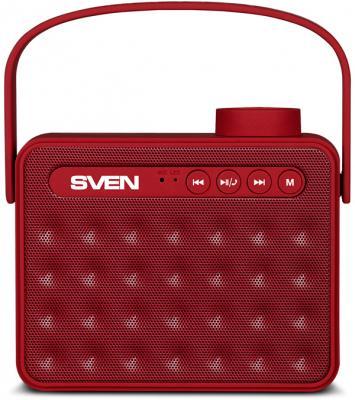 АС SVEN PS-72, красный, акустическая система 2.0, мощность 2x3 Вт (RMS), Bluetooth, FM, USB, microSD, ручка, встроенный аккумулятор)