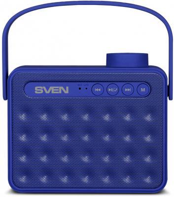 АС SVEN PS-72, синий, акустическая система 2.0, мощность 2x3 Вт (RMS), Bluetooth, FM, USB, microSD, ручка, встроенный аккумулятор)
