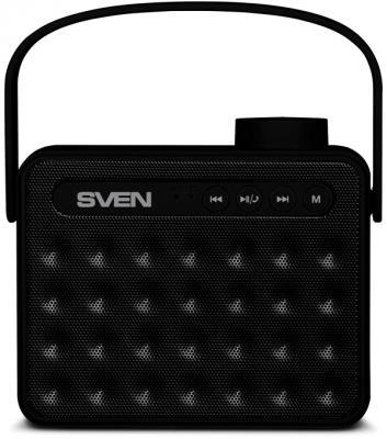 АС SVEN PS-72, черный, акустическая система 2.0, мощность 2x3 Вт (RMS), Bluetooth, FM, USB, microSD, ручка, встроенный аккумулятор)
