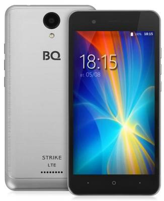 Смартфон BQ BQ-5044 Strike LTE серебристый 5 8 Гб LTE GPS Wi-Fi 3G 4G BQS-5044-SVB смартфон micromax a107 cosmic grey 4 5 8 гб wi fi gps 3g 4 5 2sim 8гб gps wi fi 3g android 5 0 2000 ма ч