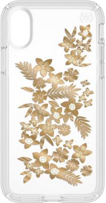 Чехол Speck Presidio Clear + Print для iPhone X. Материал пластик. Цвет: прозрачный. Дизайн Shimmer Floral Metallic Gold Yellow/Clear.