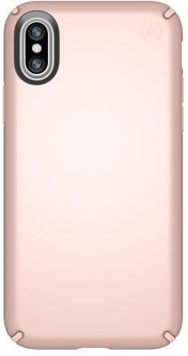 Чехол Speck Presidio Metallic для iPhone X. Материал пластик/металл. Цвет розовое золото. Дизайн Rose Gold Metallic/Dahlia Peach.