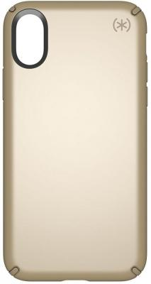 Чехол Speck Presidio Metallic для iPhone X. Материал пластик/металл. Цвет темно-желтый. Дизайн Pale Yellow Gold Metallic/Camel Brown. чехол книжка speck presidio folio для iphone x материал полиуретан цвет красный серый
