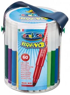 Набор фломастеров CARIOCA BRAVO, 60 шт., в пластиковом ведерке на лямке набор фломастеров universal carioca mini jumbo 6 шт разноцветный 40106 6