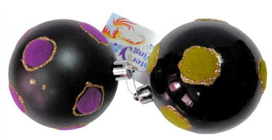 Набор шаров Winter Wings Шар цветные горошины черный 7 см 2 шт пластик набор шаров winter wings грани 8 см 2 шт пластик