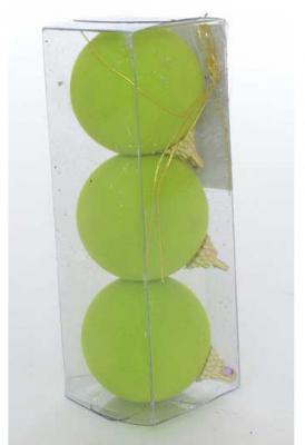 Купить Набор шаров Winter Wings Шары флокированные зеленый 5.5 см 3 шт полимер, Елочные украшения