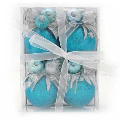 Набор шаров Winter Wings Блестки бирюзовый 7 см 4 шт пластик набор шаров блестки 4 шт в картонной коробке 7 см 4 цв