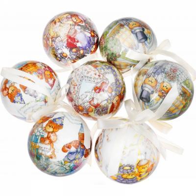 Купить Набор шаров Winter Wings Мишки 7.5 см 7 шт пластик, разноцветный, Елочные украшения