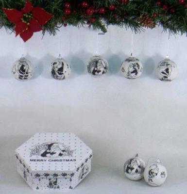 Купить Набор шаров Winter Wings Новогодние комиксы белый 7.5 см 7 шт пластик, Елочные украшения