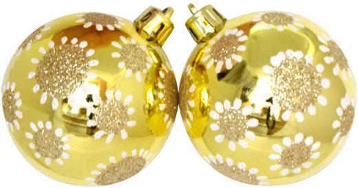 Картинка для Елочные украшения Winter Wings Шар горошины, с блестящей крошкой шампань 6 см 3 шт пластик N181117