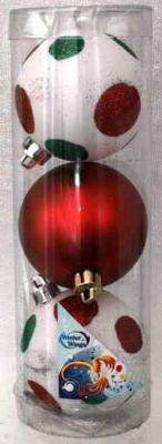 Купить Набор шаров Winter Wings Крапинка в ассортименте 7 см 3 шт пластик N180008, цвет в ассортименте, Елочные украшения