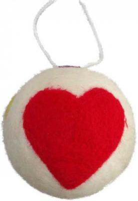 Купить Елочные украшения Winter Wings Шар с сердцем 11 см 1 шт полиэстер N069750, разноцветный