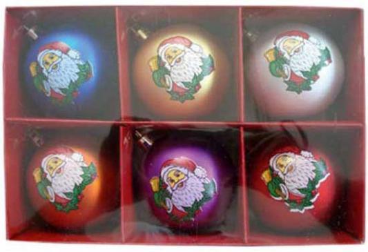 Купить Набор шаров Winter Wings Дед Мороз, с ручной росписью в ассортименте 7 см 6 шт N06470, цвет в ассортименте, Елочные украшения