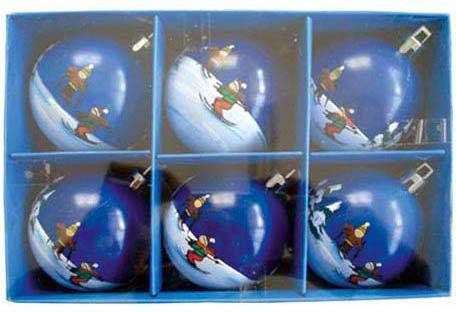 Набор шаров Winter Wings Лыжник, с ручной росписью цвет в ассортименте 6 см 6 шт N06444 автомобильные ароматизаторы cristalinas cristalinas ароматизатор автомобильный с ароматом новогодней ели 3 шт по 6 мл