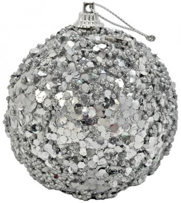 Купить Елочные украшения Winter Wings Шар с блестками серебро 8 см 1 шт N06868
