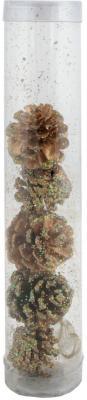 Картинка для Елочные украшения Winter Wings Шишки еловые с крошкой голограмма коричневый 6 см 5 шт N06646