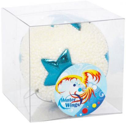 Купить Елочные украшения Winter Wings Шар бело-синий 8 см 1 шт пластик N181479