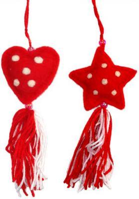Елочные украшения Winter Wings Сердце, звезда с кисточкой красный 8 см 2 шт фетр N069746
