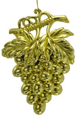 Елочные украшения Новогодняя сказка Виноград золотой 10х8 см 1 шт N181660G