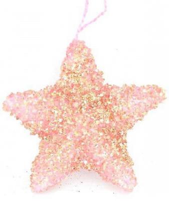 Елочные украшения Winter Wings Звезда розовый 10 см 1 шт полимер