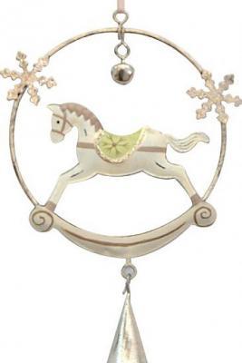 Купить Елочные украшения Winter Wings Лошадка в круге кантри 10*15 см 1 шт металл 181041, разноцветный