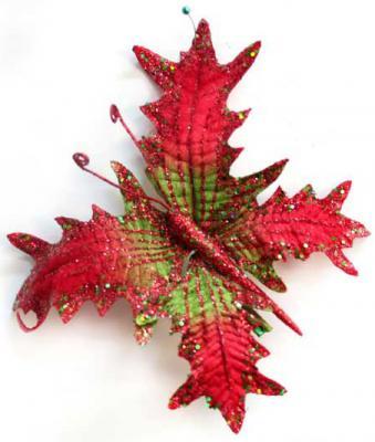 Украшение Winter Wings Бабочка с клипом красный 10 см 1 шт полиэстер N069865 цена и фото