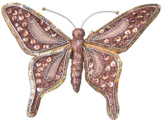 Украшение Winter Wings Бабочка розовый 19 см 1 шт полимер N069677